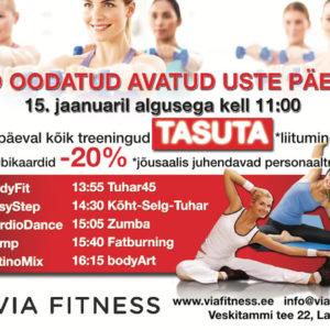 Alustame aastat Via Fitness avatud uste päevaga!