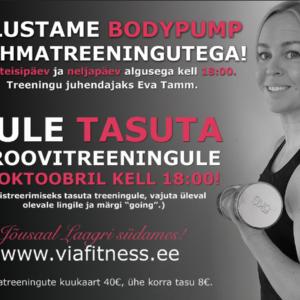 BodyPump treening iga teisipäev ja neljapäev kell 18:00!
