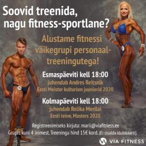 Fitnessi treeningu väikegrupp iga esmaspäev ja kolmapäev kell 18:00